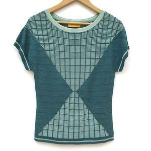 St. John Yellow Label Geometric Knit Top Sweater